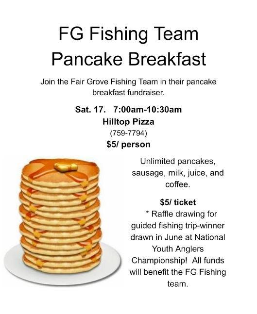 Fair grove fishing team pancake breakfast for National fishing association